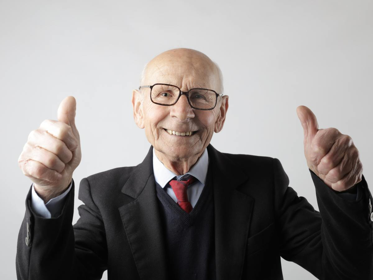 Old Man with thumbs up
