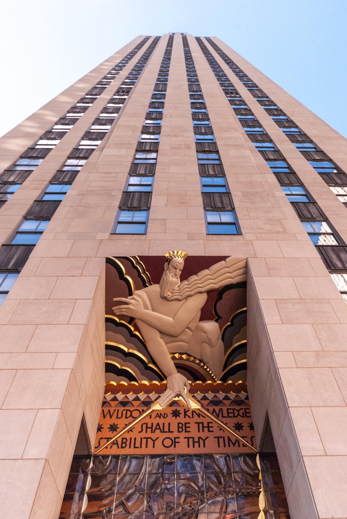 Wisdom writing on a building