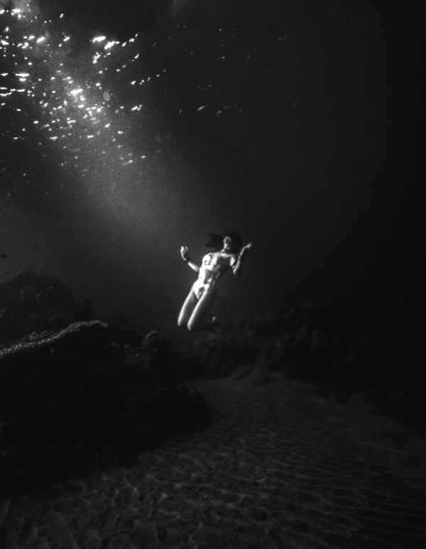 Girl down under sea